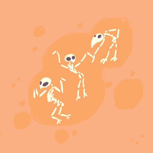dancing bird skeletons