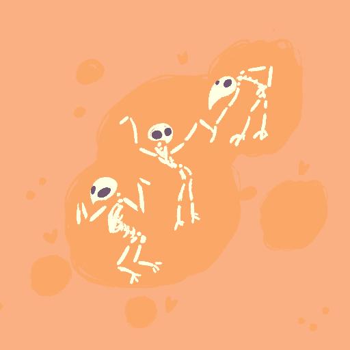 dancing bird skeletons